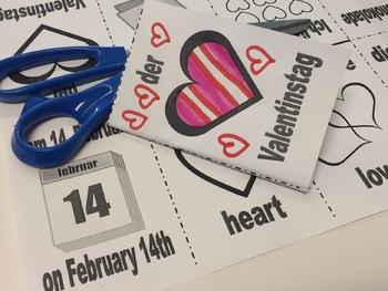 Valentines Day (der Valentinstag) in German - Foldable Mini Booklet