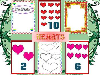 Hearts - Activities - Flashcards - Frames - Clip Art