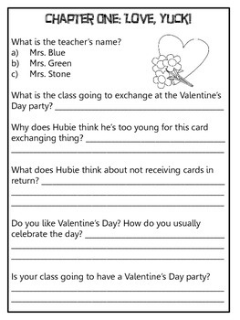 Valentine's Day from the Black Lagoon Response Notebook