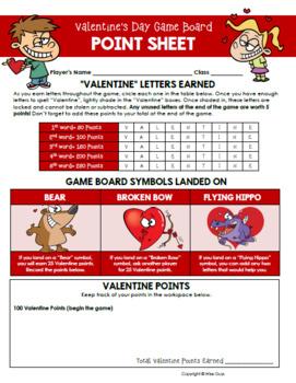 Valentine's Day Game Board Activity