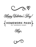 Valentine's Day gift for students Homework Pass