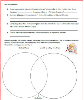 Valentine's Day in Spanish-Speaking Countries: Reading Activities & Sub Plan