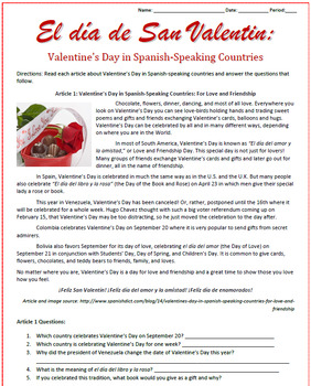 valentine 39 s day in spanish speaking countries reading activities sub plan. Black Bedroom Furniture Sets. Home Design Ideas