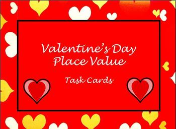 Valentine's Day math activities place value task cards