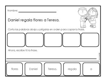 Valentine's Day mixed up sentences (Spanish)