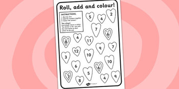 Valentines Day roll and colour math worsheet
