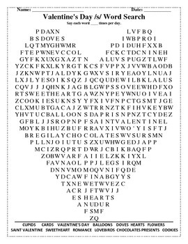Valentine's Day /s/ Word Search