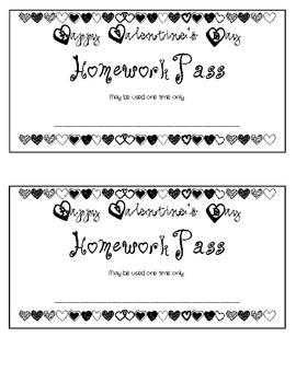 Valentine's Day themed Homework Pass