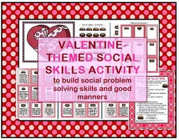 Valentine's Day-themed Social Skills, Pragmatics, Manners game Speech therapy