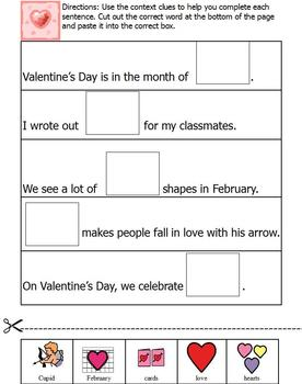 Valentine's Day themed unit; self-contained special ed packet, Boardmaker