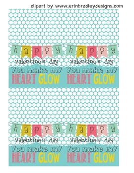 """Valentine's Day treat bag toppers """"YOU MAKE MY HEART GLOW"""""""