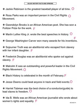 Valentine's Day/Black History Fact and Opinion Craftivity (CCSS)