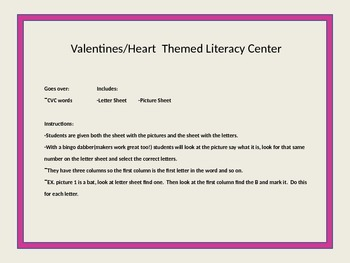 Valentines Day/Heart Themed Learning Center