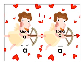 Valentine's DayLong and Short Vowel Sound Cupid and Hearts Sort