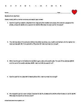 Valentine's  Math Decimal Addition and Subtraction