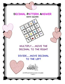 Valentine's Decimal Patterns with Powers of Ten 5 NBT.2 Math