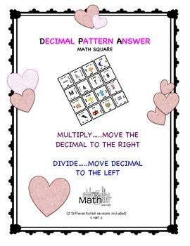 Valentine's Decimal Patterns with Powers of Ten 5 NBT.2 Math