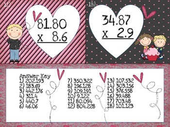 Valentine's Decimals-Multiplication Task Cards