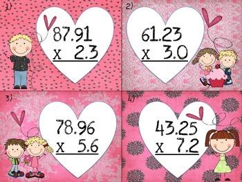Valentine's Decimals-Multiplication Task Cards