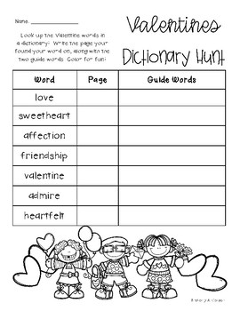 Valentines: Dictionary Hunt - Practice - Guide Words