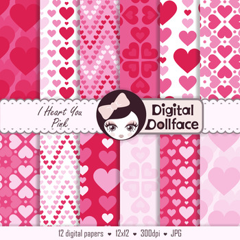Valentines Digital Paper / Hot Pink Hearts / Scrapbook Paper