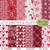 Valentines Digital Papers / Valentine's Day Backgrounds /