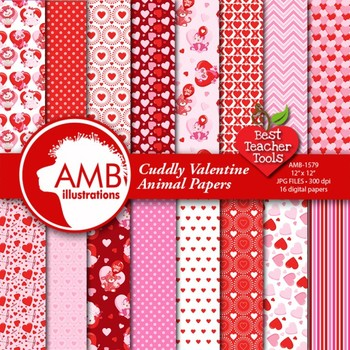 Valentines Digital Papers and Backgrounds, Animal Papers, AMB-1579