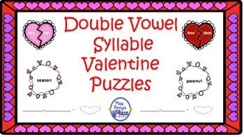 Valentine's Double Vowel Syllable Puzzles