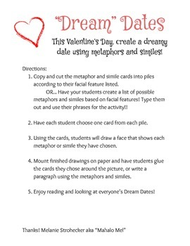 "Valentines' ""Dream"" Dates using Metaphors and Similes"
