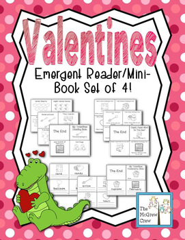 Valentines Emergent Reader Mini-Book Set of 4! K-1