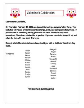 Valentines Exchange Party Letter