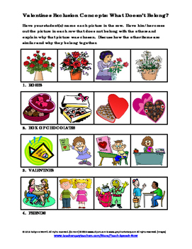 Valentines Exclusion Concepts-What Doesn't Belong?