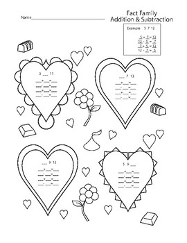 Valentines Fact Family Add & Subtract Worksheet