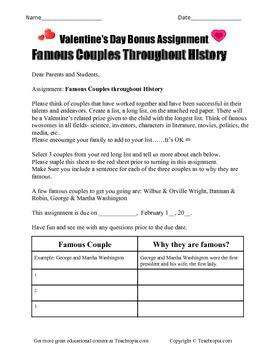 Valentine's Famous Couple Assignment
