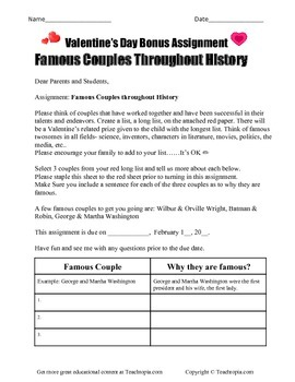 Valentine's Famous Couple Assignment.  A great assignment for Valentines Day.