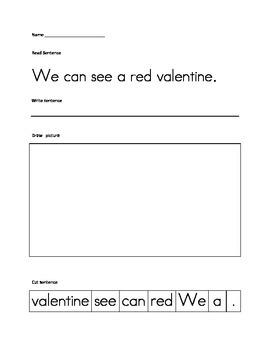 Valentines February cut up sentences, language arts common core