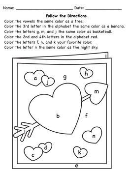 Valentine's Following Directions Coloring Worksheets by The Autism ...