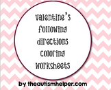 Valentine's Following Directions Coloring Worksheets