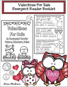 """""""Valentines For Sale!""""  Emergent Reader (Colors, Numbers & Coins)"""