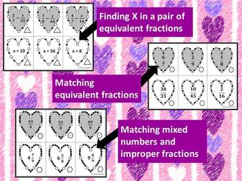 Valentine's Day Fractions Games--Equivalent & Improper (TEKS, Common Core)***PDF