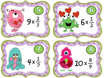 Valentine's Fractions Math Centers