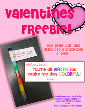 Valentines Freebie!  Candy-free student gift