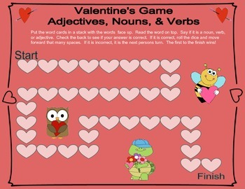 Valentine's Game- Adjectives, Nouns, & Verbs ~Easy Print, Cut, & Go~