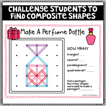 Valentines Geoboard Geometry Challenges - Holiday Task Cards - Fine Motor Skills