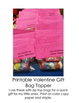 Valentines Gift Bag Topper