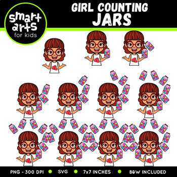Valentines Girl Counting Jars Clip Art