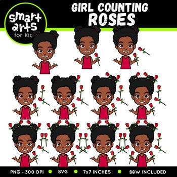 Valentines Girl Counting Roses Clip Art