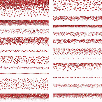 Valentines Glitter Borders PNG Overlays-60 Pink, Purple and Red Clip art Images