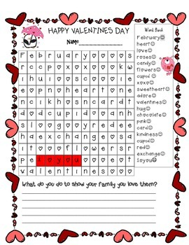 Valentine's Graph and Word Find