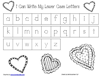 Valentines Handwriting Practice Sheets-Numbers and Alphabet